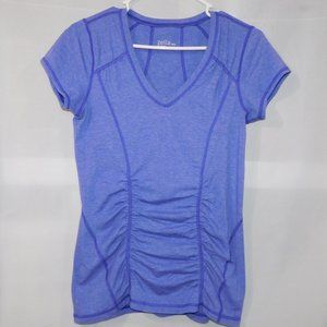 Womens M Zella Purple Ruched V Neck Athletic Top